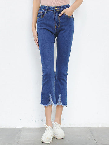 Blue Frayed Trim High-Rise Flared Midi Jean - Bychicstyle.com