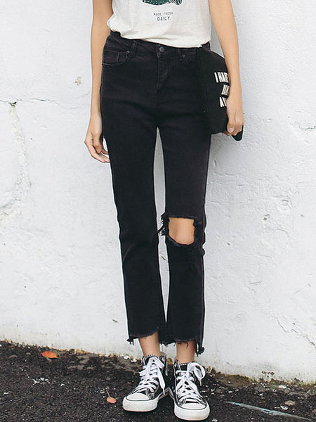 Casual Black Broken Hole Frayed Trim Straight Jean