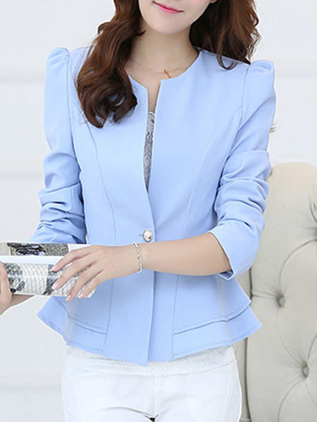 Peplum Single Button Plain Puff Sleeve Blazer - Bychicstyle.com