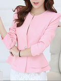 ByChicStyle Peplum Single Button Plain Puff Sleeve Blazer - Bychicstyle.com