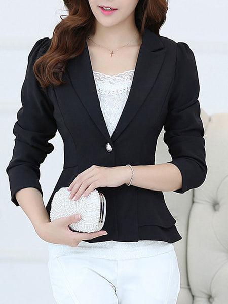 Notch Lapel Single Button Elegant Plain Blazer - Bychicstyle.com