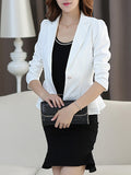 ByChicStyle Notch Lapel Single Button Elegant Plain Blazer - Bychicstyle.com