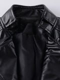 ByChicStyle Lapel Zips Plain Faux Leather Biker Jacket - Bychicstyle.com