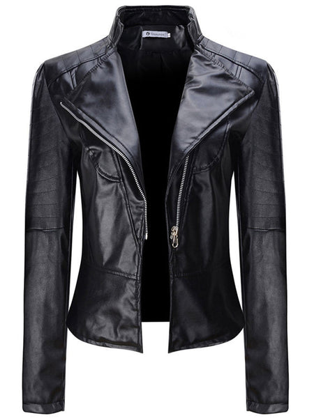 Lapel Zips Plain Faux Leather Biker Jacket - Bychicstyle.com
