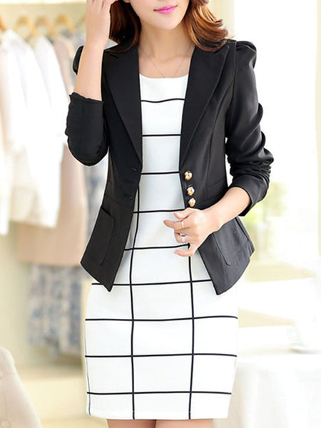 Notch Lapel Patch Pocket Plain Blazer - Bychicstyle.com