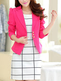 ByChicStyle Notch Lapel Patch Pocket Plain Blazer - Bychicstyle.com