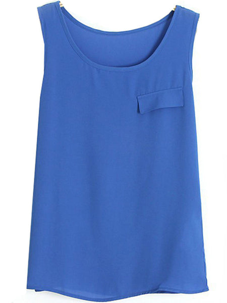 Casual Basic Chiffon Round Neck Plain Sleeveless T-Shirt
