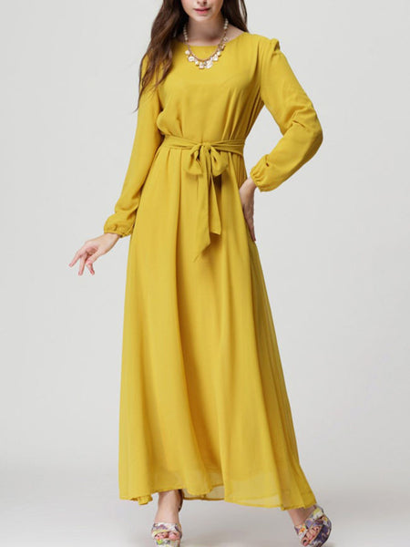 Flowy Round Neck Solid Maxi Dress With Long Sleefe - Bychicstyle.com