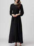 ByChicStyle Flowy Round Neck Solid Maxi Dress With Long Sleefe - Bychicstyle.com