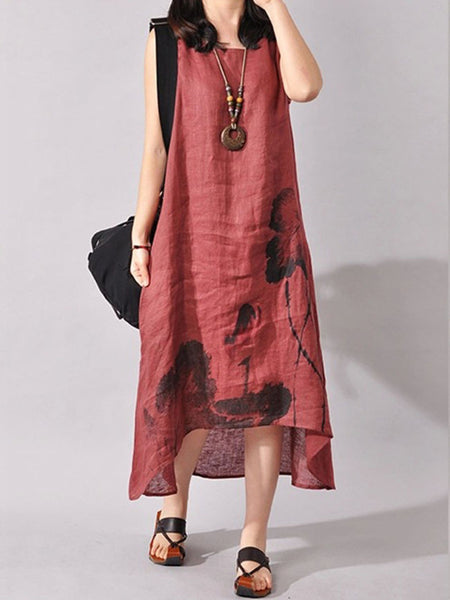 High-Low Loose Printed Sleeveless Maxi Dress - Bychicstyle.com