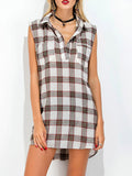 ByChicStyle High-Low Patch Pocket Plaid Stylish Shift Dress - Bychicstyle.com