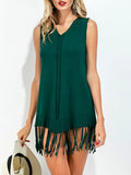 ByChicStyle Casual V-Neck Fringe Plain Stunning Shift Dress