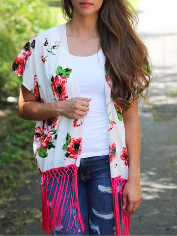 Collarless Fringe Floral Printed Kimono - Bychicstyle.com