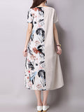 ByChicStyle Loose Round Neck Decorative Button Printed Maxi Dress - Bychicstyle.com