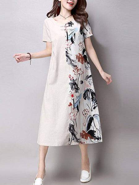 Loose Round Neck Decorative Button Printed Maxi Dress - Bychicstyle.com