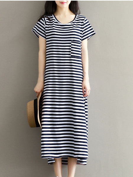 Casual Basic Loose Striped Round Neck Patch Pocket Maxi Dress