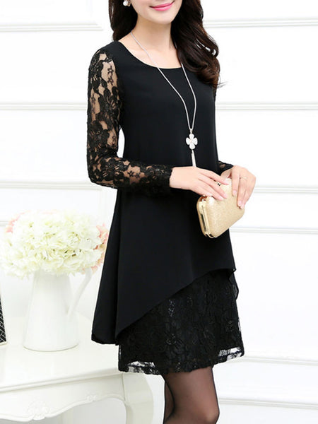 Round Neck Hollow Out Solid Chiffon Lace Shift Dress - Bychicstyle.com