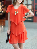 ByChicStyle Casual V-Neck Tiered Plain Chiffon Shift Dress