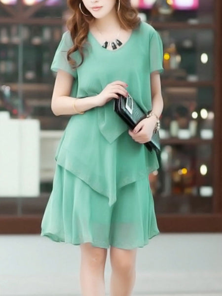 Casual Rhinestone Tiered Plain Chiffon Round Neck Shift Dress