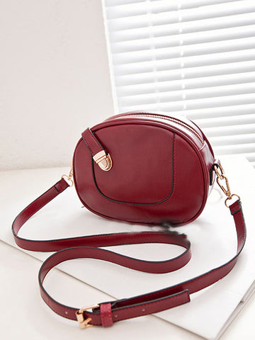 Casual Asymmetric Design Pu Crossbody Bag