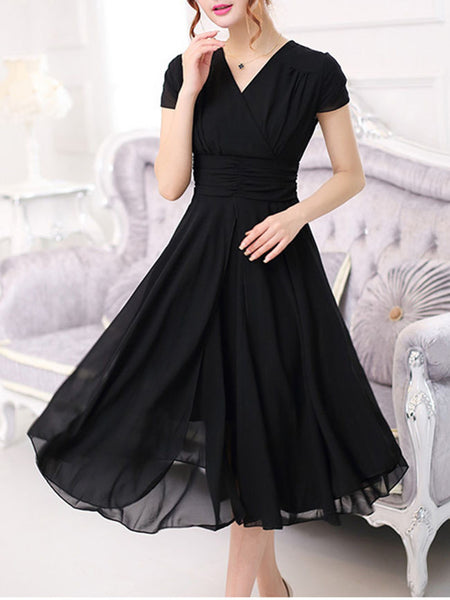 Casual V-Neck Solid Chiffon Midi Skater Dress In Black