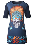 ByChicStyle Round Neck Special Skull Printed Shift Dress - Bychicstyle.com