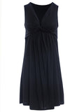 ByChicStyle Ruched Sleeveless Deep V-Neck Solid Shift Dress - Bychicstyle.com