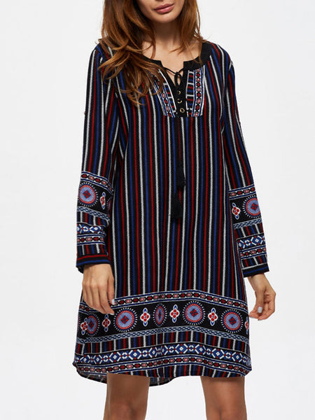 Split Neck Printed Vertical Striped Roll-Up Sleeve Shift Dress - Bychicstyle.com