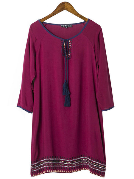 Round Neck Tassel Embroidery Delightful Shift Dress - Bychicstyle.com