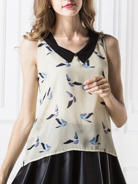 Casual Doll Collar Bird Printed Chiffon Sleeveless T-Shirt