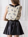 ByChicStyle Casual Doll Collar Bird Printed Chiffon Sleeveless T-Shirt