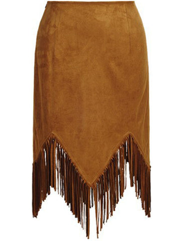 Casual Asymmetric Hem Fringe Plain Straight Midi Skirt