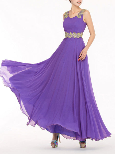 Flowing V-Neck Decorative Lace Chiffon Maxi Dress - Bychicstyle.com