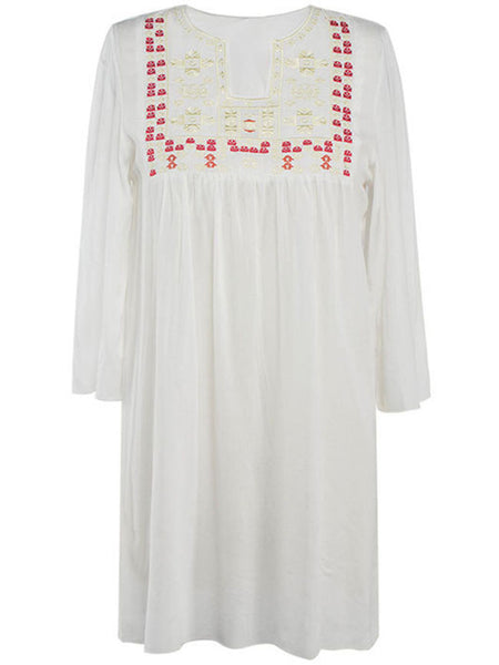 Casual Embroidery Loose Casual Shift Dress
