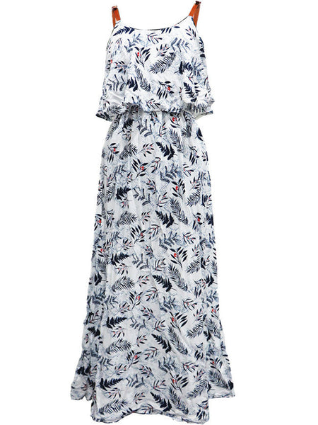 Spaghetti Strap Leaf Printed Swing Maxi Dress - Bychicstyle.com