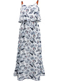 ByChicStyle Spaghetti Strap Leaf Printed Swing Maxi Dress - Bychicstyle.com