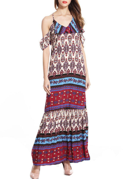 Open Shoulder Flounce Printed Maxi Dress - Bychicstyle.com