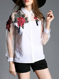 ByChicStyle Casual Polo Collar Patchwork Embroidery Shirts&Blouse