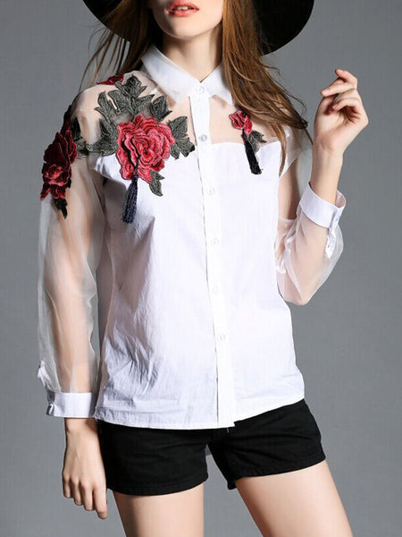 Casual Polo Collar Patchwork Embroidery Shirts&Blouse