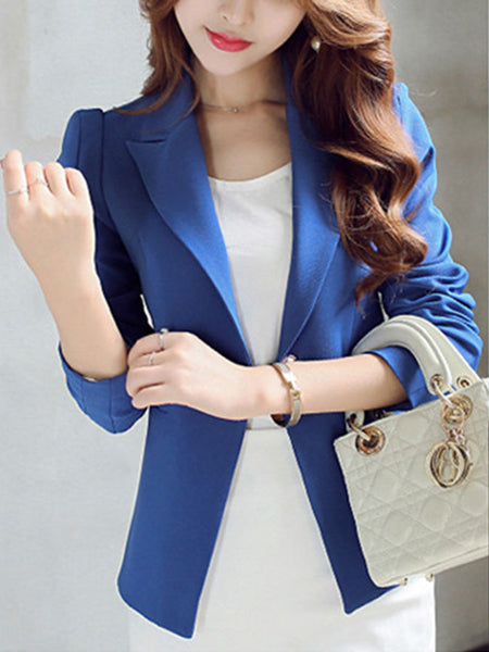 Notch Lapel Courtly Single Button Plain Blazer - Bychicstyle.com