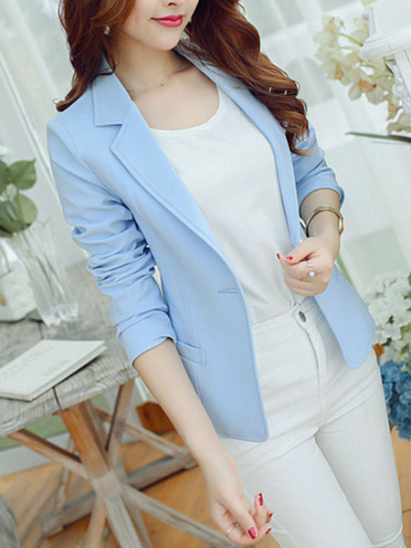 Office Notch Lapel Single Button Plain Blazer - Bychicstyle.com