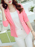 ByChicStyle Office Notch Lapel Single Button Plain Blazer - Bychicstyle.com