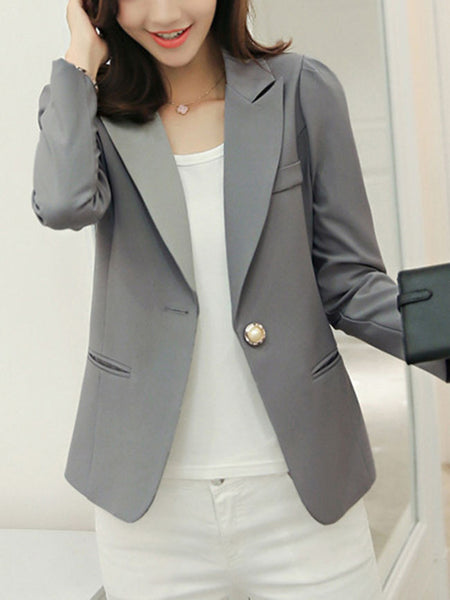 Graceful Solid Notch Lapel Single Button Blazer - Bychicstyle.com