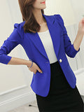 ByChicStyle Graceful Solid Notch Lapel Single Button Blazer - Bychicstyle.com