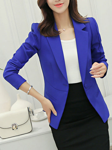 Casual Awesome Notch Lapel Single Button Plain Blazer