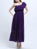 ByChicStyle Casual Elastic Waist Ruffled Hem Tiered Two Way Plain Chiffon Maxi Dress