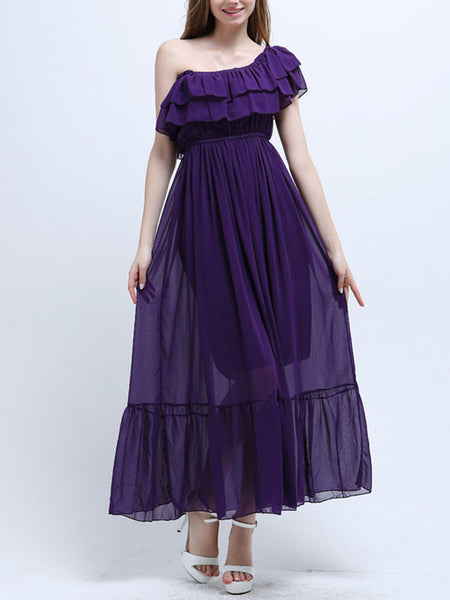 Casual Elastic Waist Ruffled Hem Tiered Two Way Plain Chiffon Maxi Dress