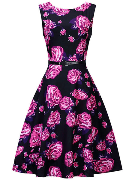 Courtly Round Neck Belt Floral Printed Skater Dress - Bychicstyle.com