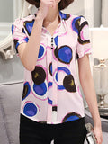 Streetstyle  Casual Band Collar Printed Blouse