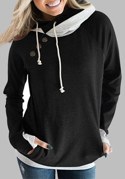 Black Patchwork Drawstring Pockets Studded Hooded Fashion Pullover Sweatshirt